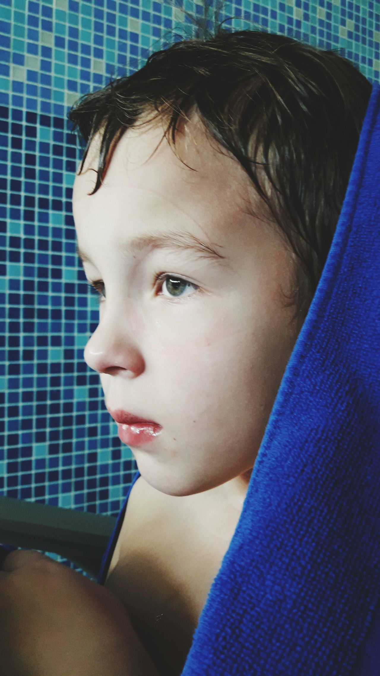 Boy, after swimming, tired, swimming, pool, Headshot One Person Indoors  , Sport, Rest