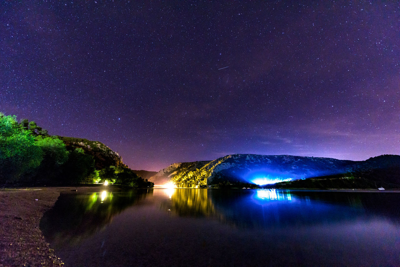A night in Croatia Astronomy Beauty In Nature Colorful Galaxy Illuminated Lake Landscape Long Exposure Mountain Nature Night No People Outdoors Purple Reflection Scenics Sky Star - Space Star Field Starry Tranquil Scene Tranquility Tree Water Waterfront