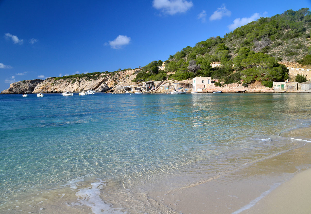 Landscape of Cala Vadella beach in Ibiza, Spain Balearic Balearic Islands Beach Cala Vadella Coastline Ibiza Idyllic Illes Balears Island Islas Baleares Landscape Nature Ocean Outdoors Picturesque Scenics Sea Sightseeing SPAIN Tourism Touristic Tranquil Scene Travel Travel Destinations Water