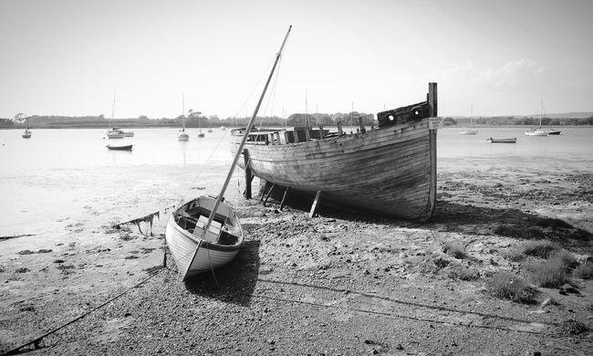 Derelict Boat B&w Chichester Harbour