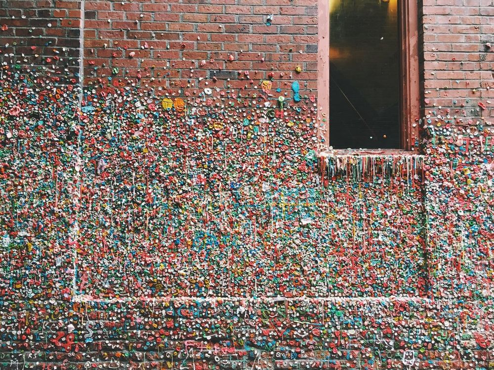 Gum wall Seattle Pike Place Market Gum Wall Seattle Street Art Gumwall PikePlaceMarket Pikes Market Place Pikesmarketplace
