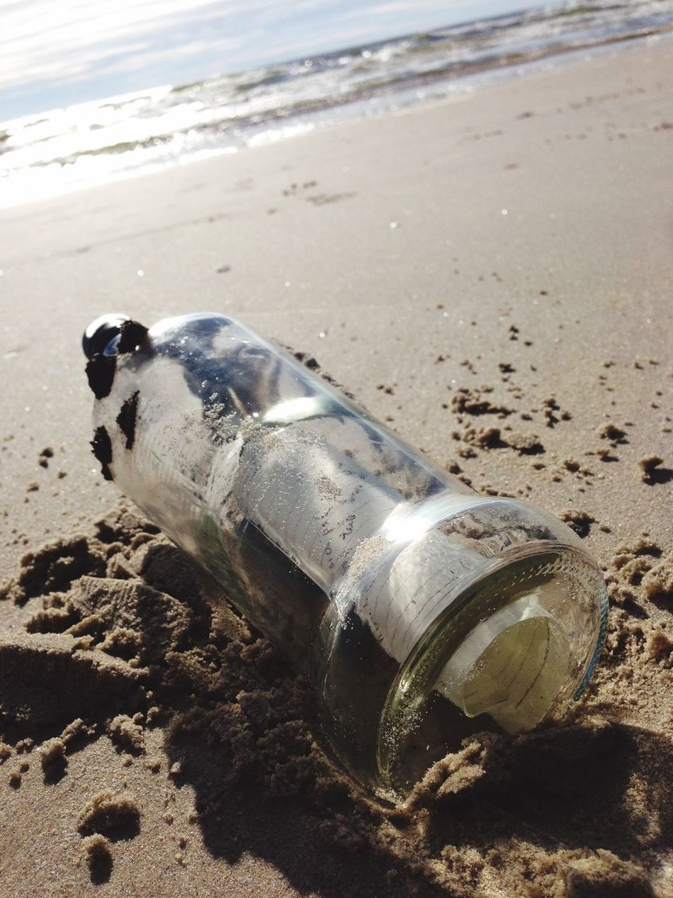 Beach Sand Water Shore Sea No People Bottle Nature Outdoors Day Drink Close-up Animal Themes Letter Letter In A Bottle Love Story
