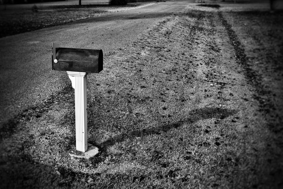 At Home Black And White Cast A Shadow Day Dry Grass In The Yard Landscape Mailbox Nature Outdoors Outside Rural Scene Shadow