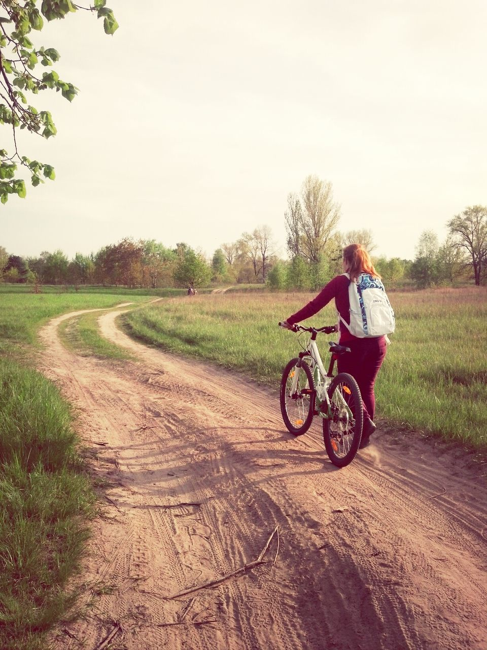 real people, one person, full length, transportation, lifestyles, outdoors, leisure activity, field, day, bicycle, road, nature, tree, happiness, sky, grass