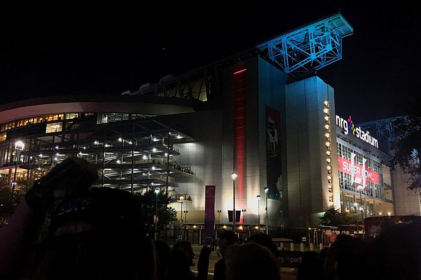 A shot NRG Stadium outside of Super Bowl LI from inside the backstage area. On the way into the Halftime Show. Houston Texas Texas Super Bowl Football Stadium Night Sports Sports Photography Arena Stadium Lights Halftime Lady Gaga City Illuminated Sky Modern Building Exterior Architecture Built Structure First Eyeem Photo