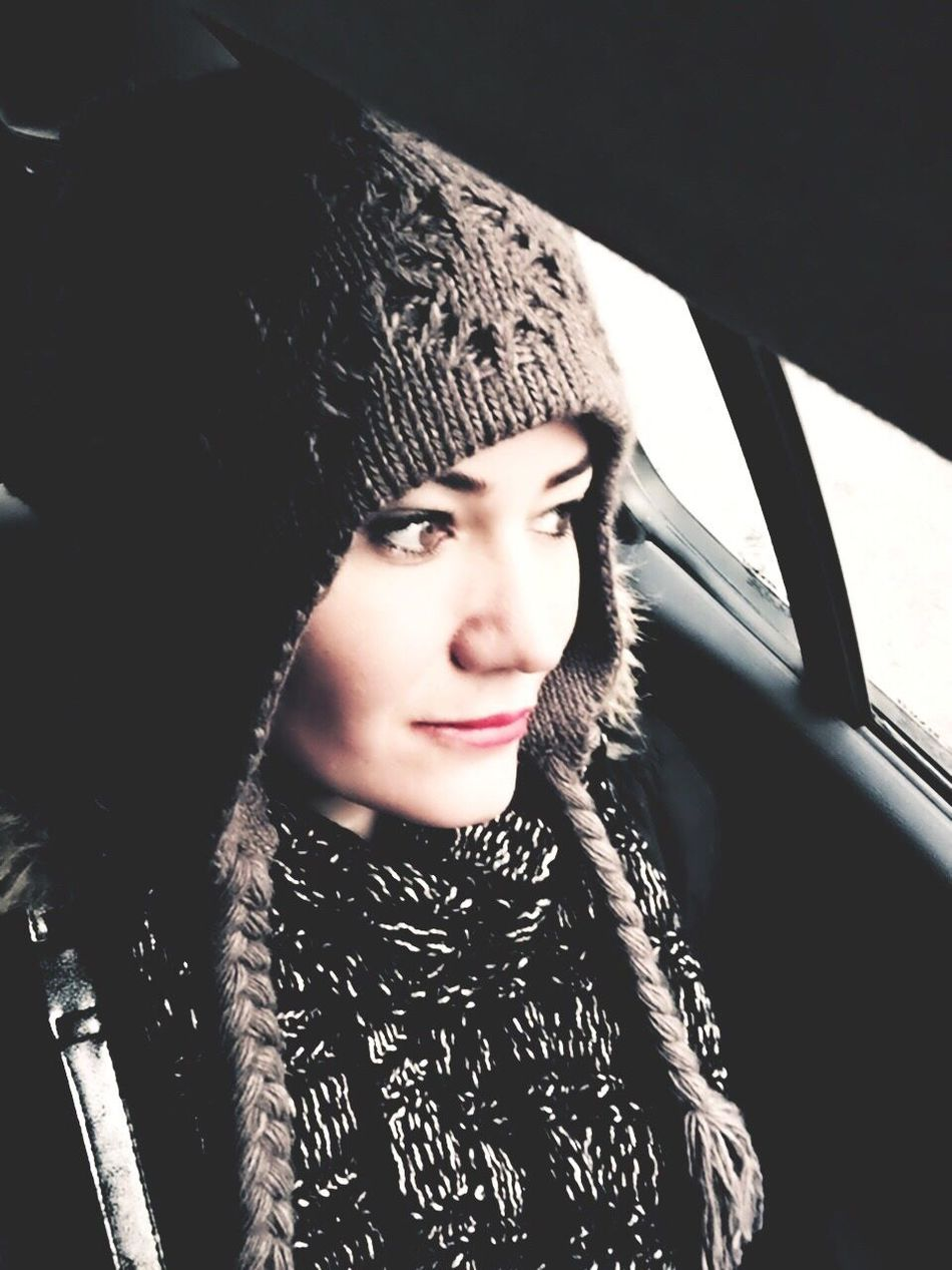Young Adult Young Women Beautiful Woman Fashion Car Real People One Person Portrait Warm Clothing Front View Scarf Lifestyles Beauty Looking At Camera Day Close-up Indoors  Adult People