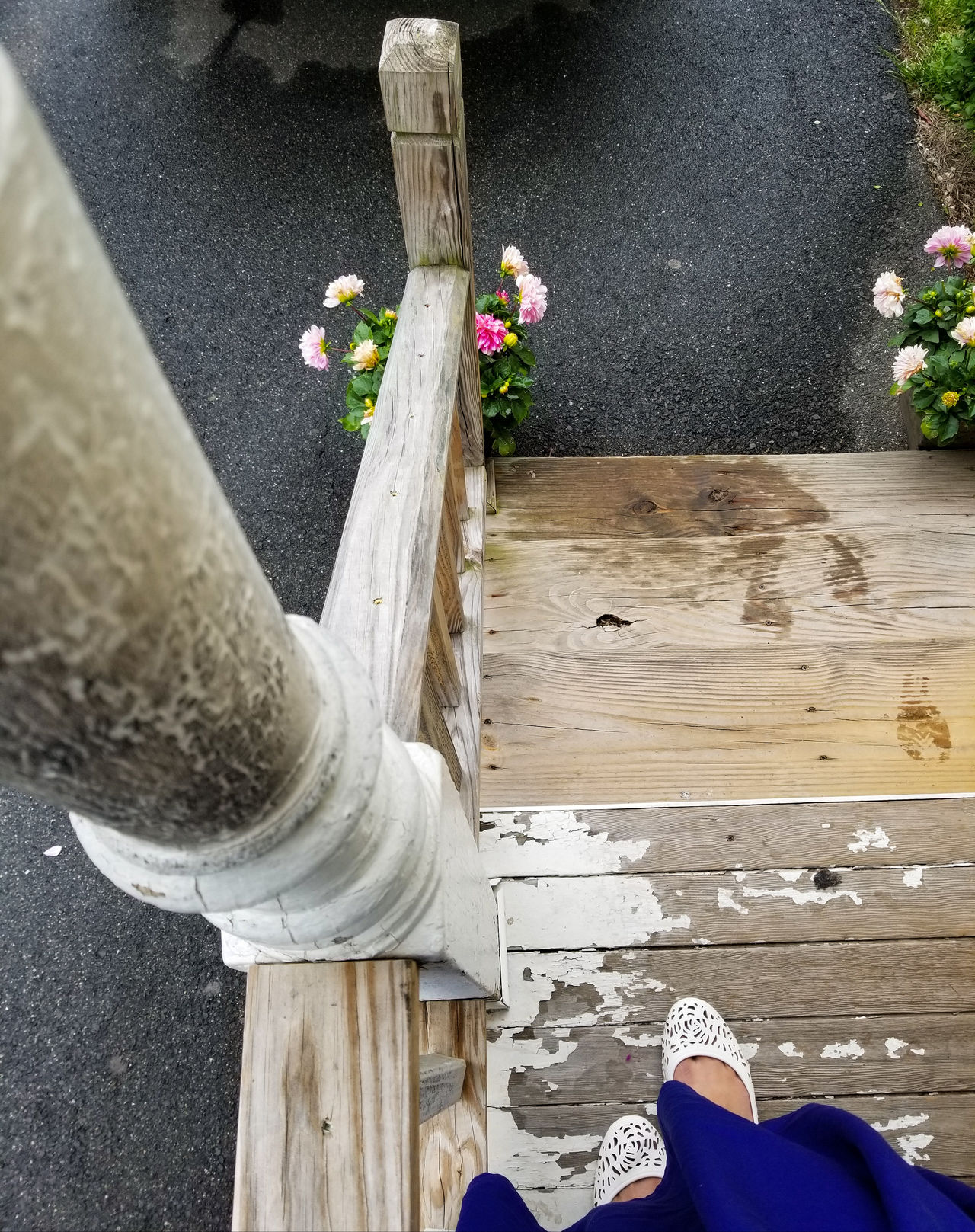 Wood - Material Shoe Day High Angle View Low Section Human Leg Outdoors WaterAngles And Views Front Porch Photography Close-up Built Structure Building Exterior Fragility People Rainy Day Photography White Shoes White Flats EyeEmNewHere Home Place Of Heart Live For The Story