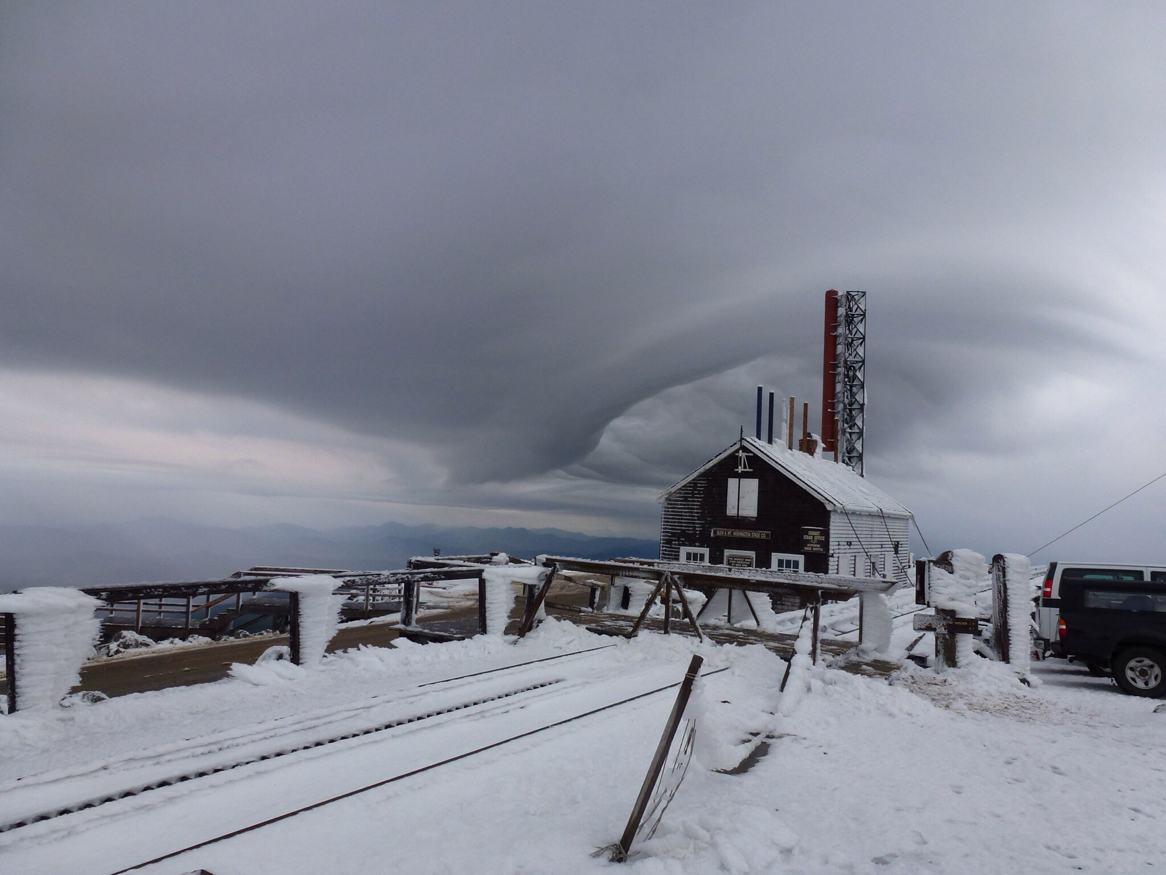 snow, winter, cold temperature, sky, weather, built structure, cloud - sky, architecture, season, covering, building exterior, nature, cloudy, outdoors, day, no people, white color, cloud, landscape, industry