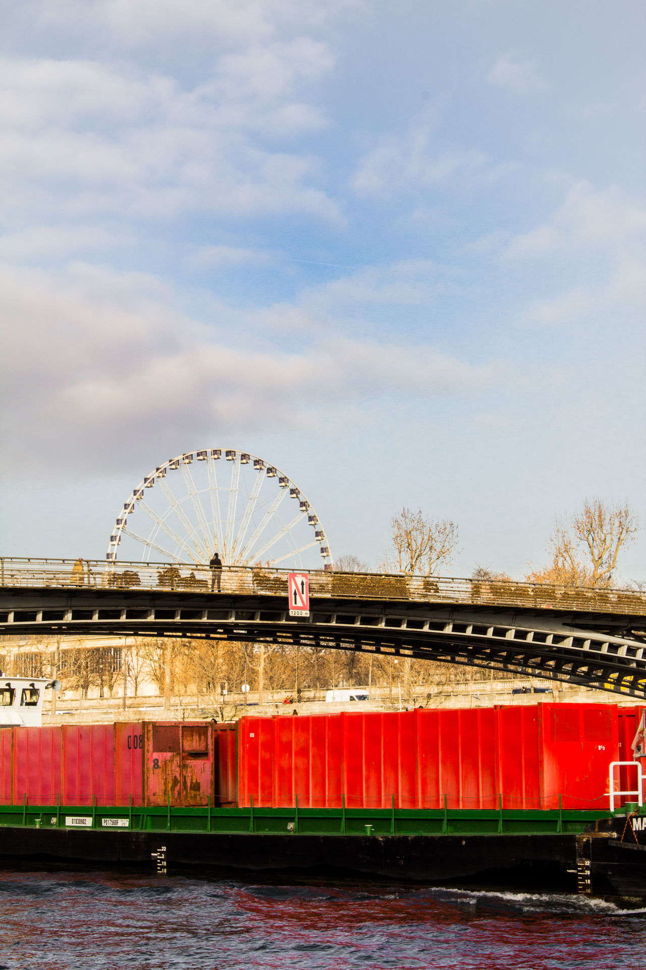 Walking in Paris Alone Architecture Barge Bridge Bridge - Man Made Structure City City Life City View  Cloud Day Industrial Man Mode Of Transport Paris Red River River View Seine Sky Standing Transportation Urban Adapted To The City Urbanphotography Wheel