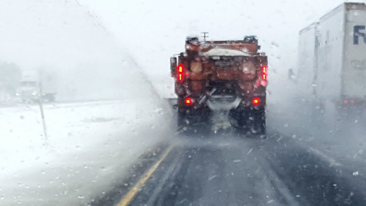Highway Highway Department Snow Route Clearance Clearance Orange Safety Salt Blizzard Indiana Interstate Snow ❄ Snowing Slow Drive Slow Snow Plow Plow Plowing Men At Work  Dangerous Highwayphotography Stay Back Winter Groundhog Lied Groundhog Blizzard