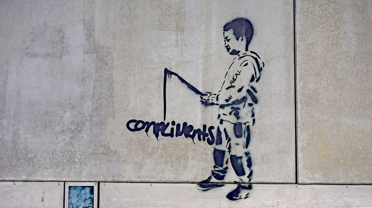 street art a boy is fishing for compliments Art Boy Compliments Fishing Graffiti Hamburg No People Street Art Streetart Text Water