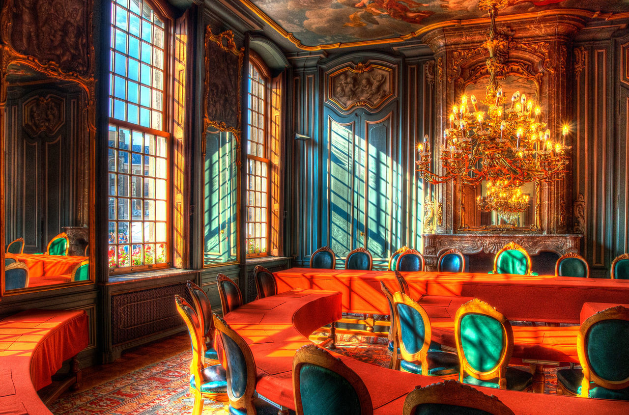 Day Illuminated Indoors  Luster Luxury Meeting Room No People Rococo Room With A View Sunlight Town Hall Warm Colors Warm Light Wealth Window