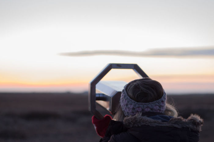 Adult Adults Only Autumn Colors Binoculars Cold Days Day Field Glasses Headshot Human Body Part Nature One Person Only Woman I Love Outdoors People Rear View Sky Sunset View Vision Winter Wintertime Long Goodbye EyeEmNewHere