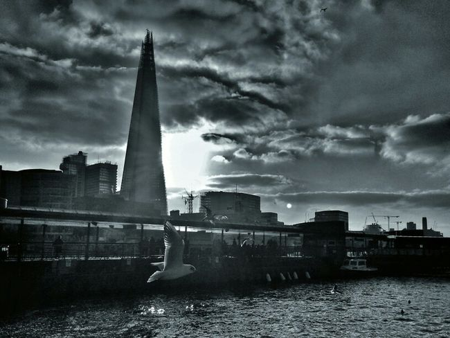 Riverbank The Shard London Monochrome Sky_collection Eye4photography  Cloud_collection  Bnw_society Bw_collection Monochrome_Monday