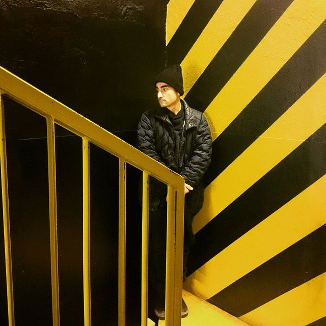 Meet Catufi at Cargo Portrait Yellow Black Stripes Stears Man Giallo Nero Righe Scale  Milan