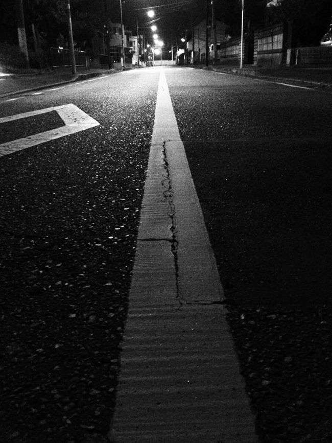 On The Road Streetphotography_bw Nightphotography Black And White
