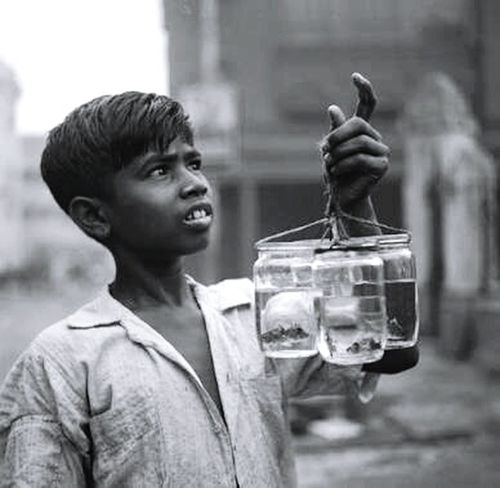 Childhood One Person Poverty. Looking For The Hope Of Light. Day Welcome To Black