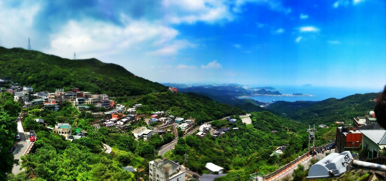 Jiu Fen Taiwan Cloud - Sky Mountain Sky Panoramic Travel Destinations Outdoors Mountain Range Scenics Nature Landscape Built Structure Tree Sea Beauty In Nature No People Building Exterior Vacations City Beach Cityscape Jiufen Old Street, Taiwan Miniature Panorama