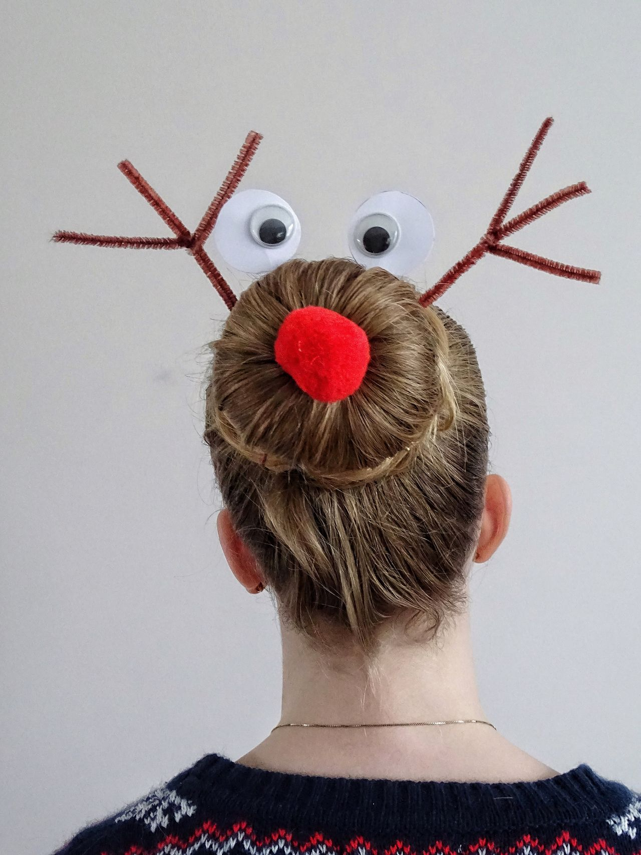 Reindeer Rudolph Hair Hairstyle Blond Hair Stylish Christmas Red Nose Eyes Rear View One Person Indoors  Headshot Childhood Studio Shot Close-up Day People Bun Hairdo Hairstyles Hair Bun Funny Hair Funny Hairstyle