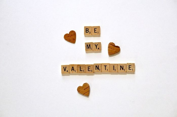 Valentine's Day wishes Greeting Love Sentimental Valentine's Day  Wishes Alphabet Capital Letter Childhood Close-up Communication Heart Message No People Points Score Single Word Studio Shot Sweet Nothings Text Tiles Western Script White Background Words