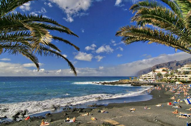 Teneriffe Beach Photography Black Sand Beach Blue Sky And Clouds Palm Trees Sky Teneriffa Water