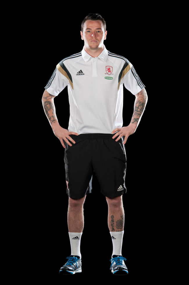 Photoshoot for Middlesbrough FC. Black Background Football Football Shirt Full Length Man Sportsman Standing Studio Photography Studio Shot Young Adult