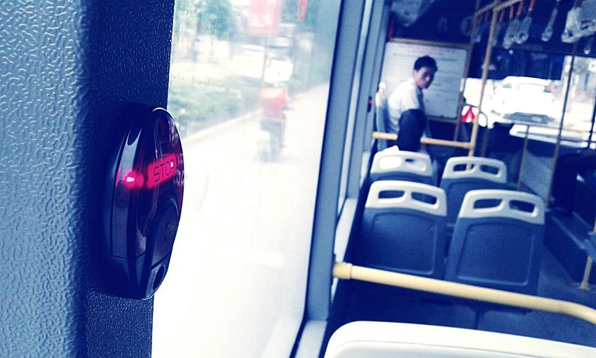 On the way home (by Samsung Galaxy J1)Transportation Red One Person People Day One Man Only Bus Button Stopbutton Close-up Freshness EyeEm Selects EyeEmNewHere EyeEmBestPics Indoors  Travel Destinations
