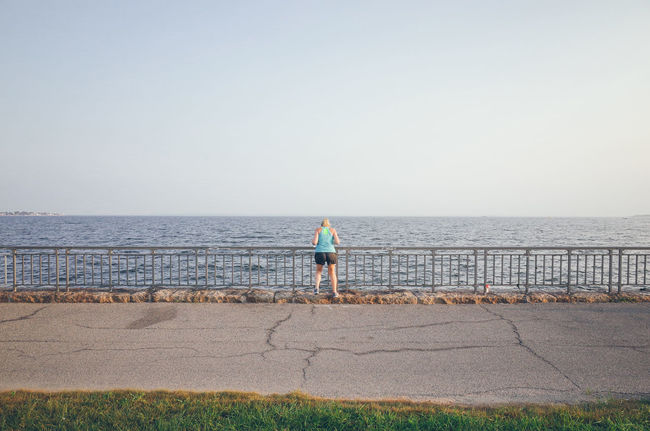 The world seen from behind Backhead Behind Concrete Distant Getting Away From It All Horizon Horizon Over Water Jogging New York City Ocean Outdoors Rear View Sea Seascape The World Seen From Behind Water