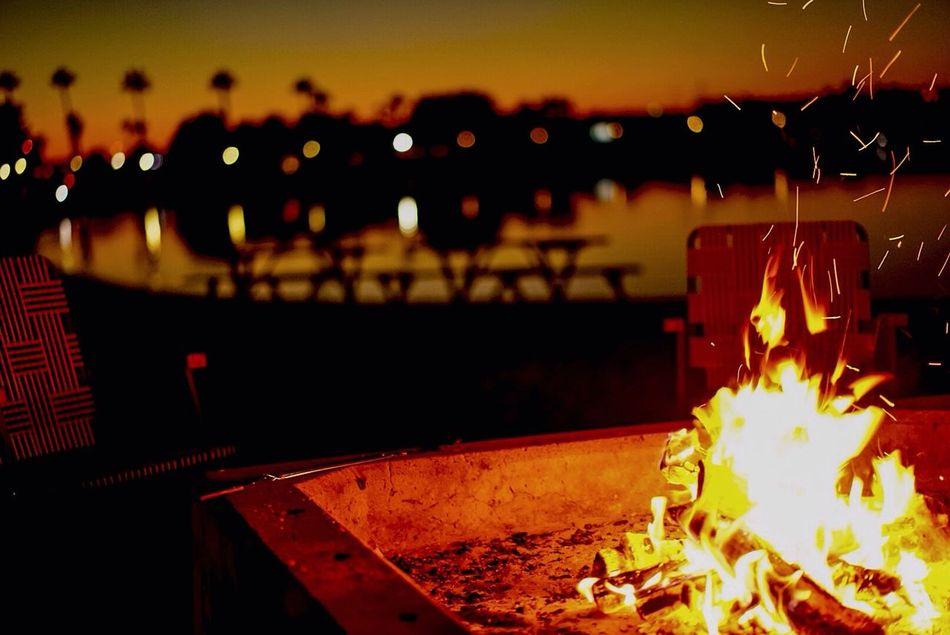 Bonfire on the beach Glowing Night Dusk Enjoying Life Fire