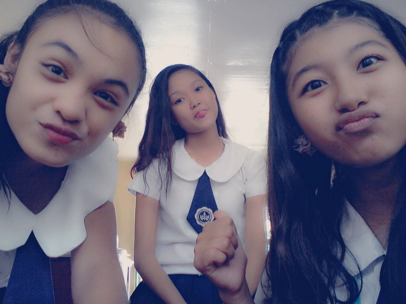With my pretty Girl Friends School Girl (: Beautiful ♥ My Girls ♥ Happy And Contented