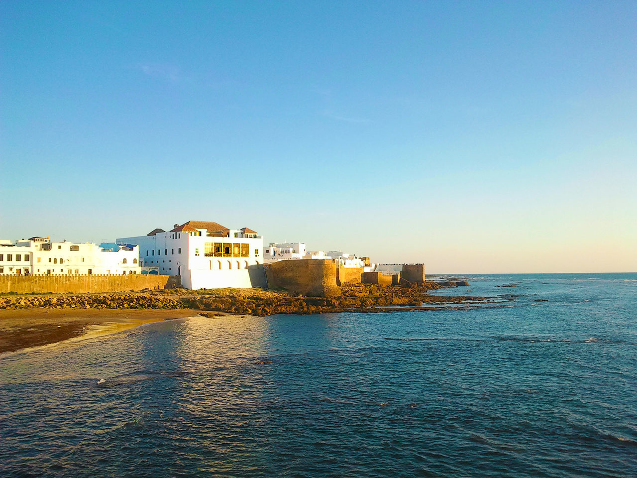 asilah sea Architecture Asilah Asilah Morocco Beauty In Nature Blue Building Exterior Built Structure Clear Sky Day Nature No People Outdoors Scenics Sea Sky Sky And City Sky And Sea Water Waterfront