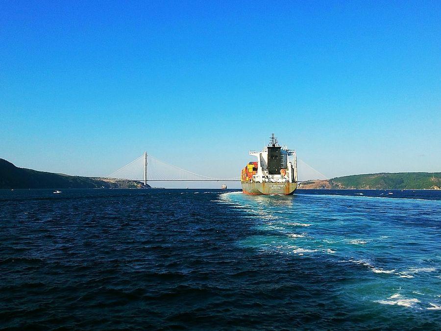 Colour Of Life The blues. Sea Sea And Sky Water Ship Boat Bridge Seascape Sea View Bridge View Colors Tanker Cargo Ship Bosphorus Bosphorus, Istanbul Istanbul