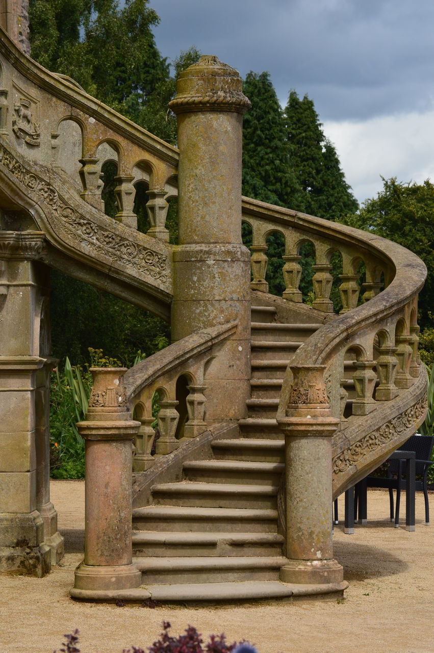 steps and staircases, steps, staircase, history, tree, architecture, day, outdoors, no people, sky