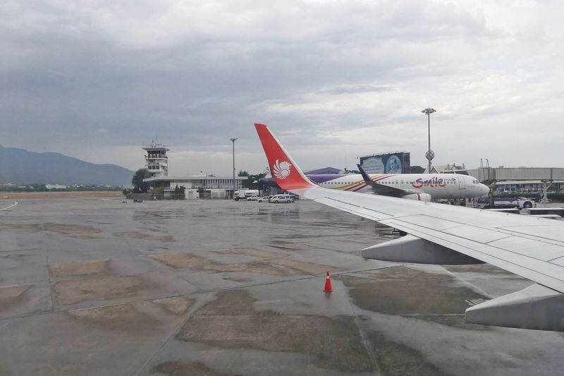 Chiang Mai, Thailand - April 14,2017 : Thai Lion Air Boeing 737-900ER Taxiing on runway at Chiang Mai International Airport on April 14, 2017. Thai Lion Air is a Thai low-cost airline. Air Vehicle Aircraft Wing Airplane Airplane Wing Airport Airport Chiang Mai Airport Runway Chiang Mai Airport Cloud - Sky Commercial Airplane Day Mode Of Transport Nature No People Outdoors Passenger Boarding Bridge Runway Sky Taxiing Thai Lion Air Transportation Travel สนามบินเชียงใหม่ เชียงใหม่ ไทยไลออนแอร์