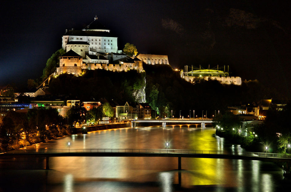 Architecture Austria Kufstein Bridge Castle City City Life Famous Place HDR History Illuminated Lights Mirroring Night Outdoors River Urban View Water Photography In Motion EyeEm Best Shots Cities At Night Cities At Night Eyeem Awards 2016 Adapted To The City