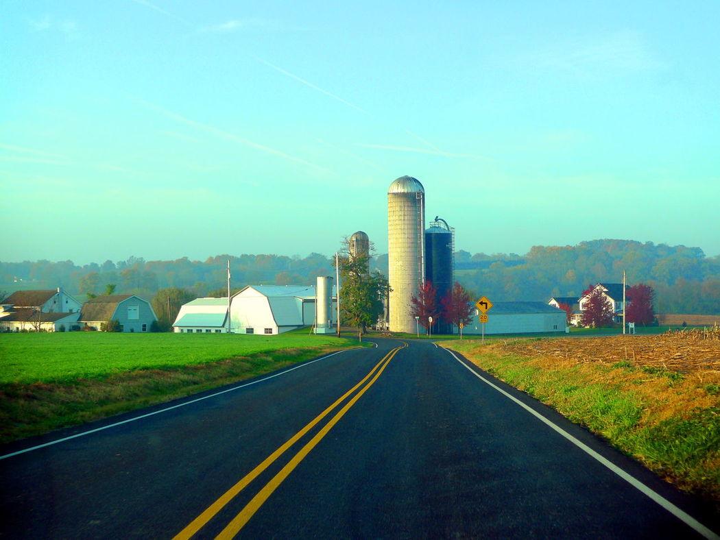 Farm Silhouette Road Silo