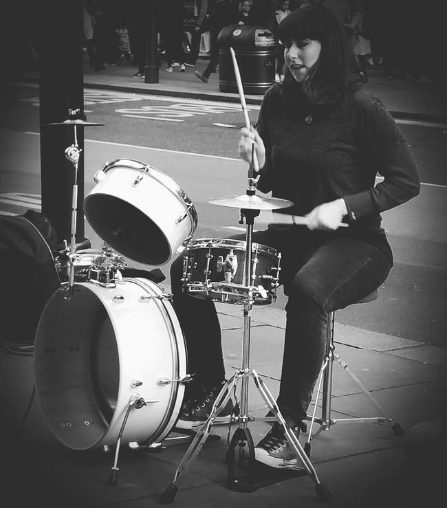 Women Who Inspire You Human Meets Technology Women In Business Here Belongs To Me EyeEm Best Shots - Black + White Portrait Of A Woman Bnw Portrait Bnw Musician DrummerGirl Inspiring People Black And White Drumming On The Streets Playing On The Streets Musician's Life Drummer Inspirational Drummer Girl Samsung Galaxy Note 4 Samsungphotography Learn & Shoot: Balancing Elements London Street Photography London EyeEm Best Shots - People + Portrait People