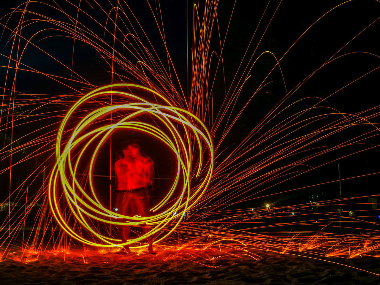Double Passion. Long Exposure Night Motion Illuminated Wire Wool Light Trail Speed Light Effect Steelwool Double Fire Spin Circle Red Fire Dancer Art Is Everywhere TCPM The Portraitist - 2017 EyeEm Awards Live For The Story