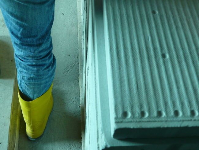 Concrete Construction Site Elbe River Hamburg Jeans Philharmonie Rubber Boots Standing Yellow