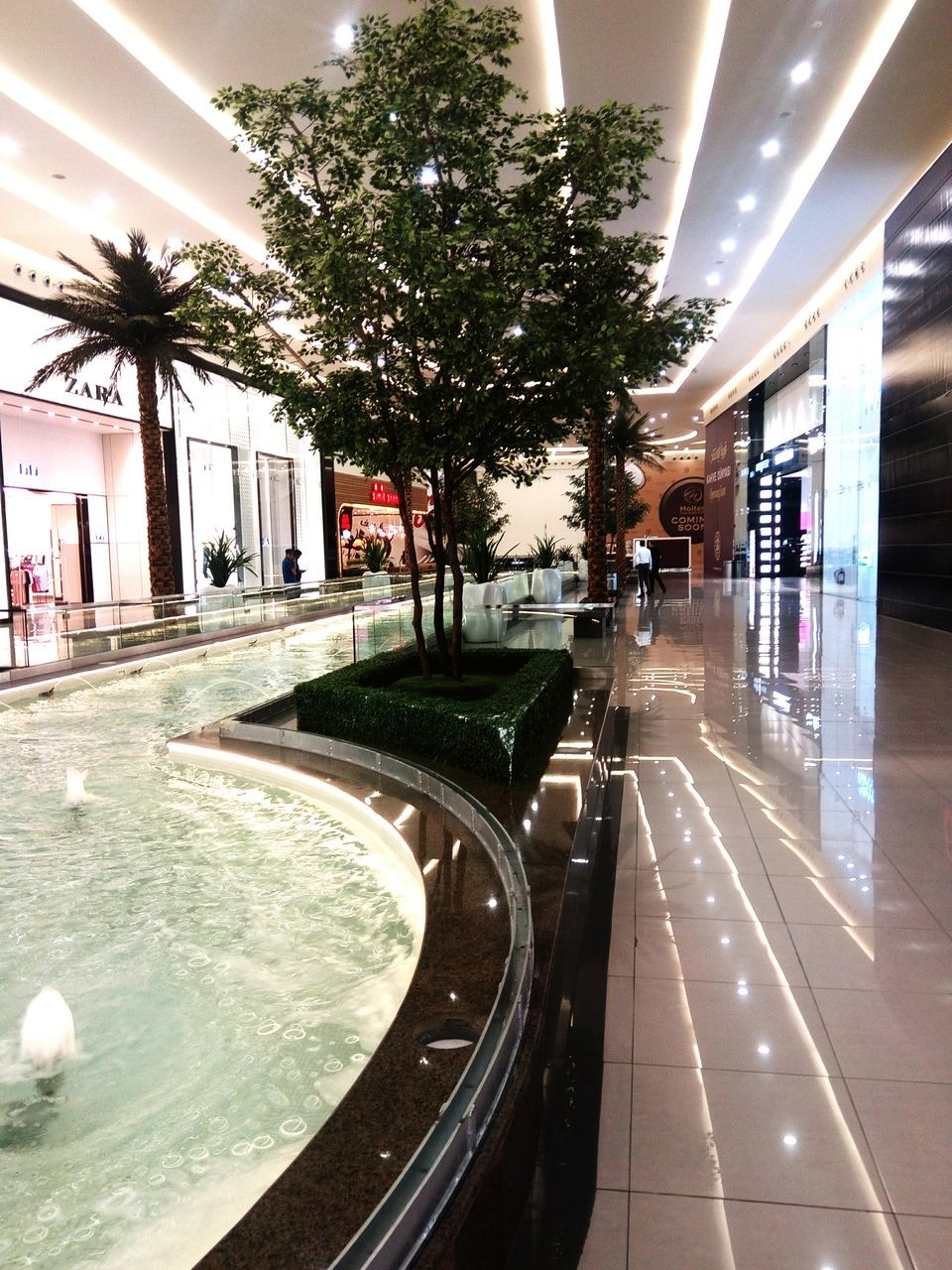 illuminated, architecture, indoors, built structure, water, tree, day, no people