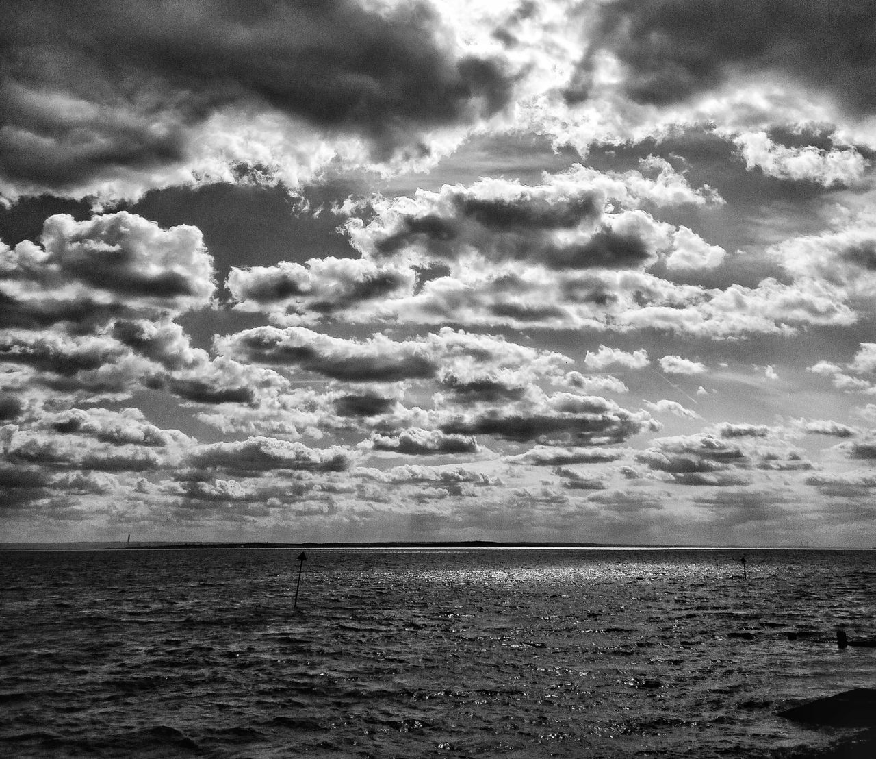 Meanwhile, out at sea... Sea Sea And Sky Sky Dramatic Sky Seaside Seascape Seafront Southend Southend On Sea Black And White Photography Black And White Blackandwhite Drama Emptiness Lonliness All By Myself