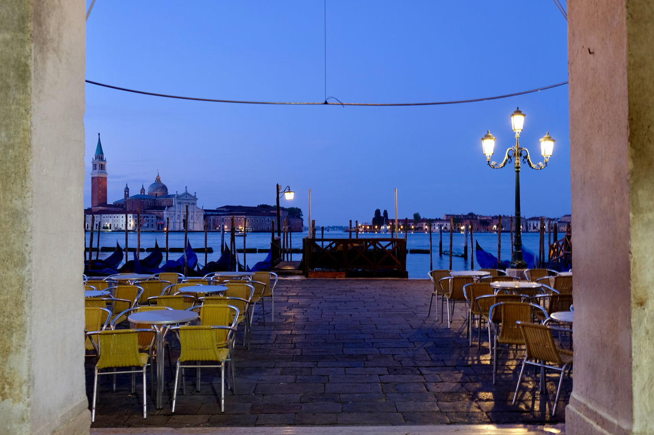 Architecture Blue Building Exterior Built Structure Chair Clear Sky Day Eye4photography  EyeEm Best Shots EyeEm Gallery EyeEmNewHere Landscape_Collection Nature Nautical Vessel No People Outdoors Sea Sea And Sky Sealife Sky Sunlight Table Venice Venice, Italy Water
