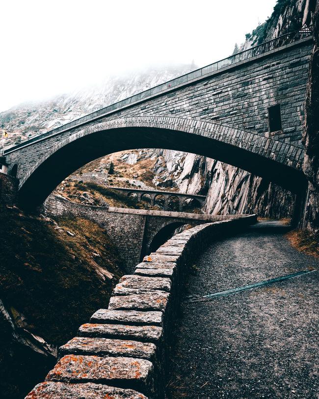 The Devil's Bridges over the Schöllenen Gorge in Andermatt, Switzerland. Alps Andermatt  Autumn Bridge Bridges Brücke Brücken Close-up Devil's Bridge Exploring Fall Focus On Foreground Foggy Hi Leading Lines Mist Mood Road Schweiz Switzerland Switzerlandpictures Teufelsbrücke Travel