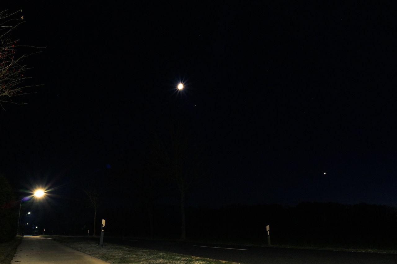 night, illuminated, street light, moon, floodlight, outdoors, no people, nature, sky
