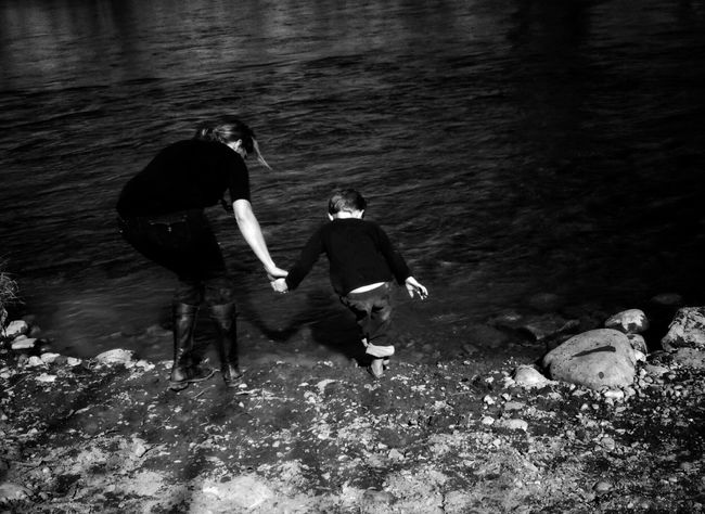 Cold feet and it was worth it..so I was told 💕 Water Glacier River Family Black And White Nature Beauty In Nature Wading Brrrr! Brave EyeEm Nature Lover Water Shore Holding Hands No Faces Lots Of Bums My Favorite Photo
