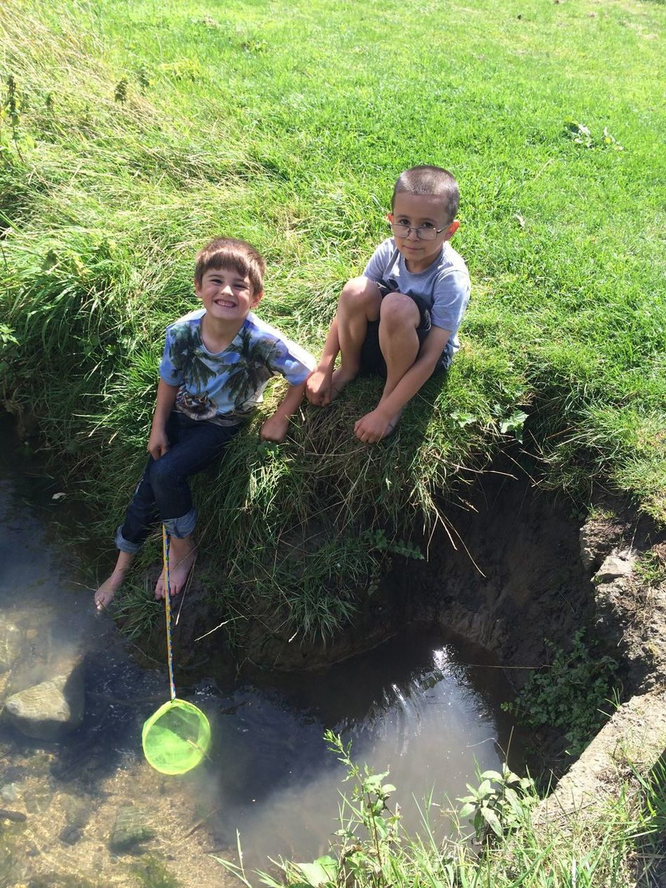 Two People Childhood Child Boys Full Length Grass Togetherness Water Cousin Outdoors Care Brother Summer Happiness Bonding Day Real People People Fishing Net Fishing