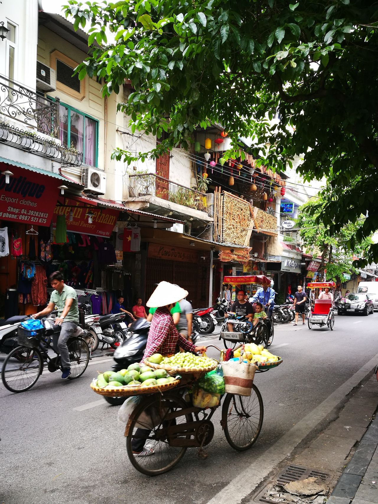 Bicycle Street Cyclo Woman Fruits Hanoi Vietnam Old Quarter Asian Conical Hat Neighborhood Map Street People Non La