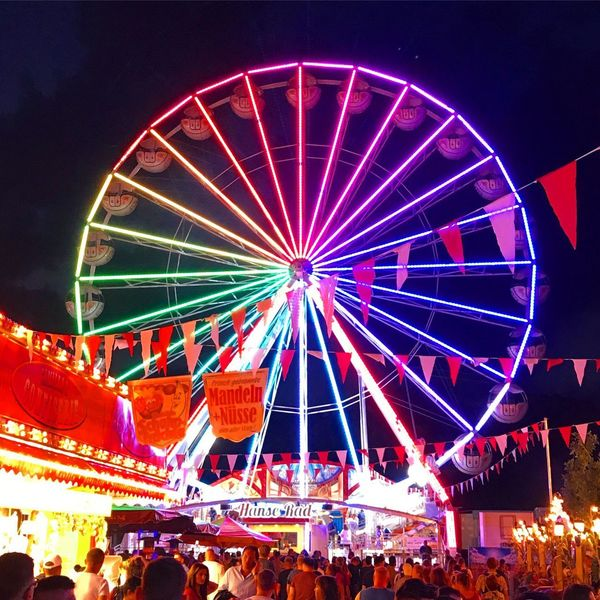 Large Group Of People Illuminated Night Arts Culture And Entertainment Leisure Activity Amusement Park Men Crowd Outdoors Nightlife Women Real People Sky People Volksfest♥