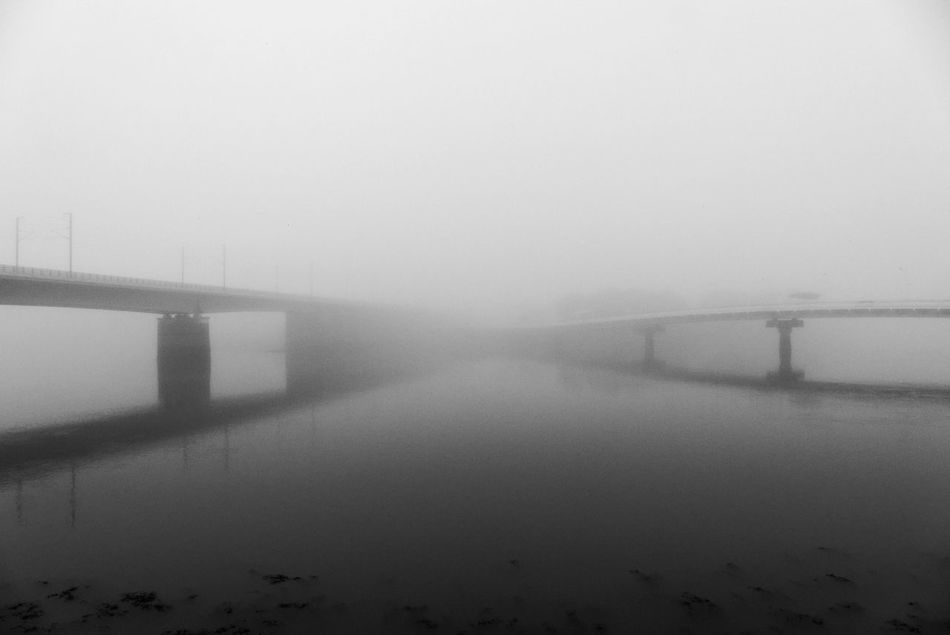 Architecture Blackandwhite Bretagne Bridge - Man Made Structure Built Structure Bw_collection Connection Day Fog Lanester Lorient No People Outdoors Tranquility Water Weather