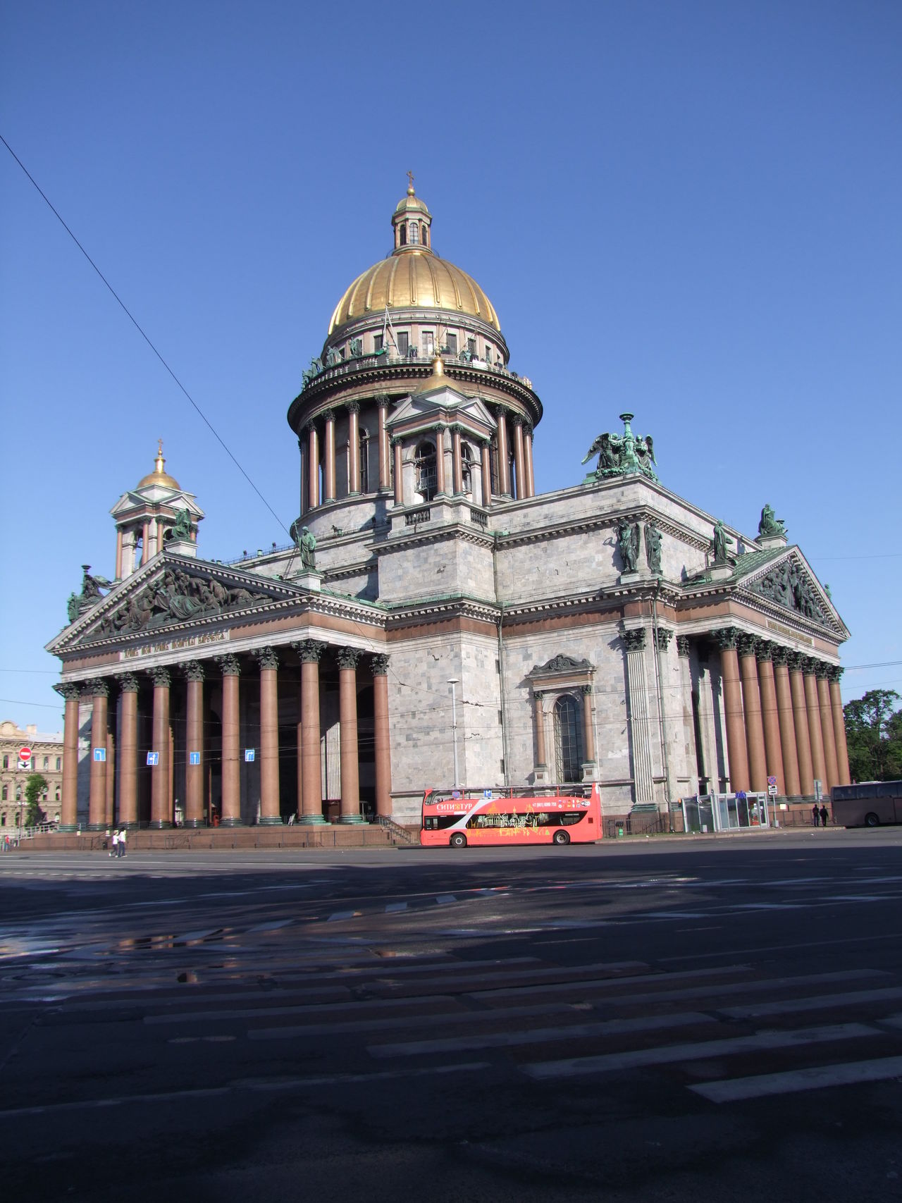 St Isaac's Cathedral (1858) Architecture Blue Sky Building Building Exterior Built Structure Cathedral Church Composition Dawn Of A New Day Façade Famous Place Gold Dome Historic History International Landmark No People Pillars Place Of Worship Religion Russia Saint Isaac's Cathedral Saint Petersburg Spirituality Tourist Attraction
